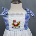 Hand-Embroidered Poplin Plaid Ruffled Lace for Girls