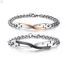Bracelet adapté aux besoins du client de gravure de coutume d'amitié, bracelet gravé de couple de cadeau de valentines