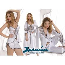 Conjunto de pijama y camisón de noche nupcial blanco