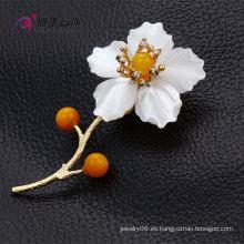 Xuping Fashion Rhodium -Plated Cristales de Swarovski Jewelry Leaf Broche de joyería con forma de flor -X0421008