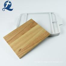 Assiette à dîner en céramique multifonctionnelle rectangulaire blanche en gros avec planche de bois