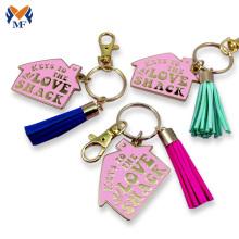 Fashion metal enamel tassel keychain for bag