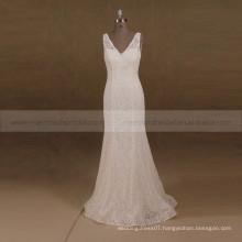 Graceful V- Neck V-Back Mermaid Soft Lace Vintage Wedding Gown