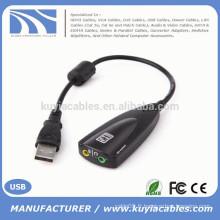 High Quality 2.0 USB Sound 5hv2 USB 7.1 Son Adaptateur de carte son 12 canaux avec ligne