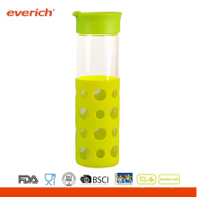Vidrio de la botella de la bebida de Borosilicate con la nueva manga del silicón