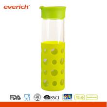 Verre à bouteille à boisson à base de borosilicate avec nouveau manchon en silicone