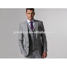 Custom Made Slim Fit Groom Tuxedos Light Grey Side Slit Best Man Suit Groomsman/Men Suits Bridegroom (Jacket+Pants+Tie+Vest)