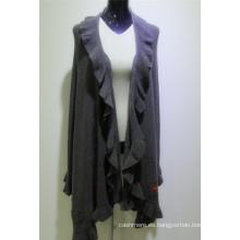 el nuevo diseño al por mayor hizo punto la capa de la cachemira de las mujeres, mujeres del bordado abrigo largo del suéter