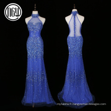 Avant-garde élégant cristal tropical diamant bling robes de soirée pour dames