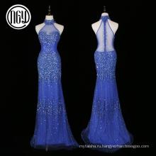 Авангардные элегантный тропический кристалл алмаза bling дамы вечерние платья