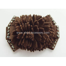 Brown Fabric Fringe Shoe Flowers, Shoe Clips