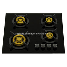 Supreme Elite Four Brass Burner Gas Hob (8mm Glass)