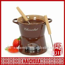 Ceramic chocolate fondue set, cheese fondue