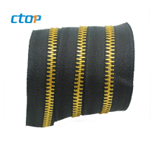 Factory Custom Best Quality Long Chain Metallic Zippers Decorative Metal Zipper For Bag