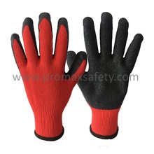 10 Gauge Red Tc Knitted Gloves with Black Crinkle Latex Palm Coated