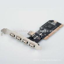 Новые 5 PORTS USB 2.0 USB 2 PCI 2.0 CARD для Windows XP и Vista
