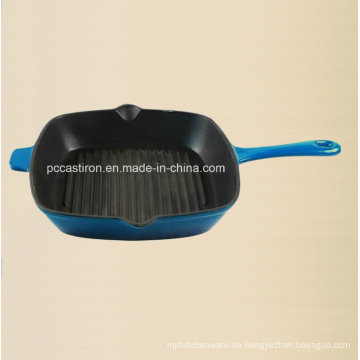 China Gusseisen Frypan mit Emaille Finishing in 26cm Dia
