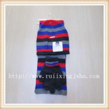 Männer strip gestrickte Mütze und Schal set