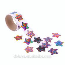 Colorful pentagram pattern paper roll sticker for Children
