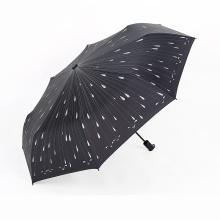 A17 paraguas de 5 pliegues paraguas sin paraguas auto abierto con estampado de gotas de lluvia