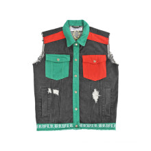 Customized Design Contrast Color Pocket Cowboy Shirts Without Sleeves (D5001)