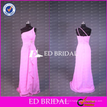 ED Bridal New Coming Real Sample One Shoulder Draped Waist A Line Long Pink Chiffon Prom Dresses 2017