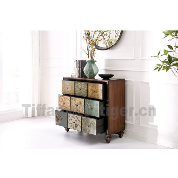 Oak Fir wood furniture antique 9 drawers classic wooded antique cabinet