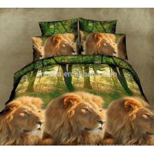 3D Lion King Design 100% polyester en microfibre Ensemble de draps Single Queen Size