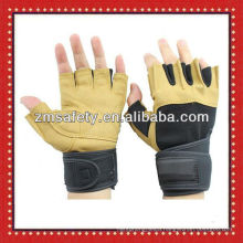Fingerless suede pig leather fitness gloves