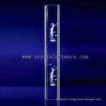 K9 3D Laser Apsara Etched Crystal with Pillar Shape