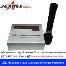 Luz de emergencia H3 Linterna militar táctica impermeable 3 * cree 2500 lúmenes Las armas recargables de la autodefensa