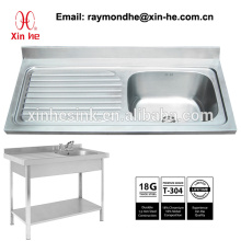Europe Commercial Kitchen Catering Sink Scullery Basin with Splashback, Portable Stainless Steel Compartment Sink for Restaurant