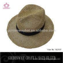 Sombrero de vaquero de paja de color natural pabellón sombrero panamá sombreros paja de sal con la cinta de diseño personalizado