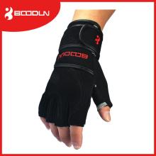 Guantes de fitness de medio dedo con bordes negros para levantamiento de pesas