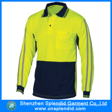 Custom Design Reflective Stripes Safety Polo Shirt with Long Sleeve
