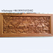 Decoração de casa artesanal parede pendurado painéis de parede de madeira esculpida