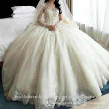 2016 Luxury Princess vestidos de noiva robe de mariage Long train Crystal plus size Bridal gown Wedding Dresses CWF2394