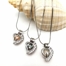 Top Grade Women Pearl Heart Cage Zircon Pendant Necklace