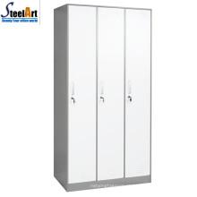 Mobiliário escolar de alta qualidade três portas de metal almirah design