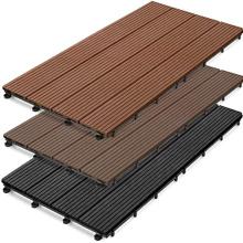 Wholesale DIY Wooden Floor Snap Deck Tiles Composite Wood Interlocking Deck Tile for Patio Garden Swimming Pool Balcony Walkway