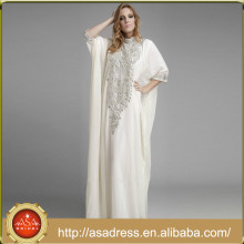 ME-08 Charming High Beaded Neck Muslim Evening Dress Long Sleeve Floor Length Chiffon Crystals White Dresses for Women