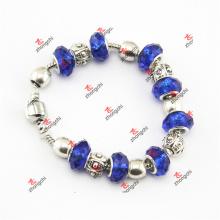 Moda azul cor de vidro talão encantos jóias pulseira cadeia (LDK60226)