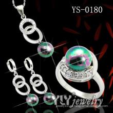 925 joyas de plata esterlina conjunto con color de perlas (YS-0180)
