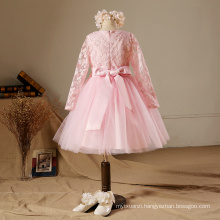 2017 new year pink duoduo princess baby girls party dress waist flowers kids long sleeve lace beads party flower girls dresses