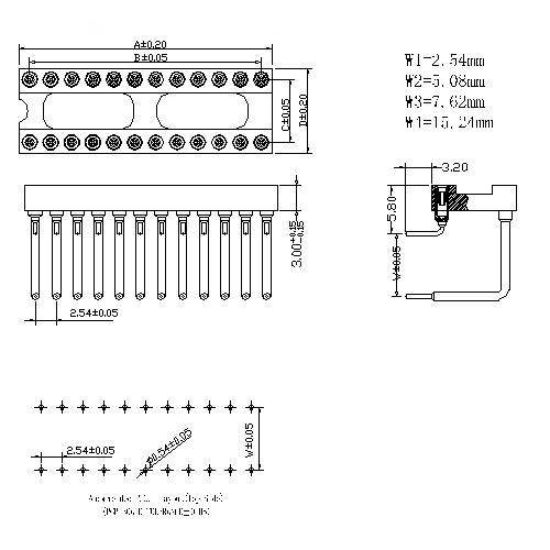 2.54mm Dual-in-line Socket Right Angle DIP