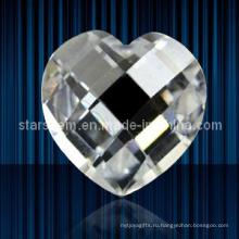 Сердце формы проверки Cut кубического циркония драгоценных камней Loose бусы