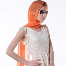 Moda Design Mulher Pure Color Scarf Natural Silk Accessory