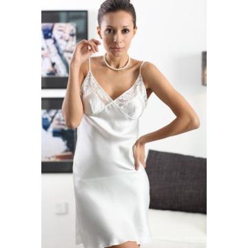 Chemise de seda pura con el cordón, ropa de seda, ropa de seda, tapa, blusa, falda de las señoras