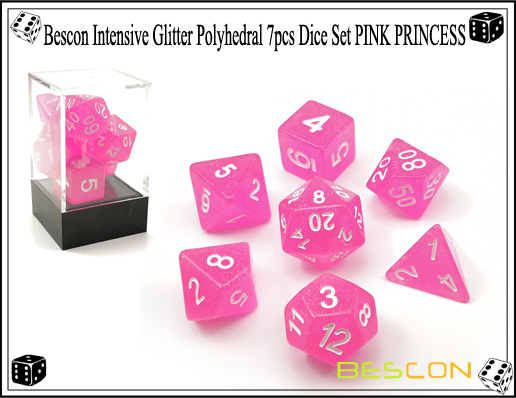 Bescon Intensive Glitter Polyhedral 7pcs Dice Set PINK PRINCESS-6