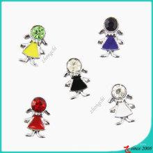 Pedra Metal Girl Slider Charme Beads para Bracelet Making (JP08)